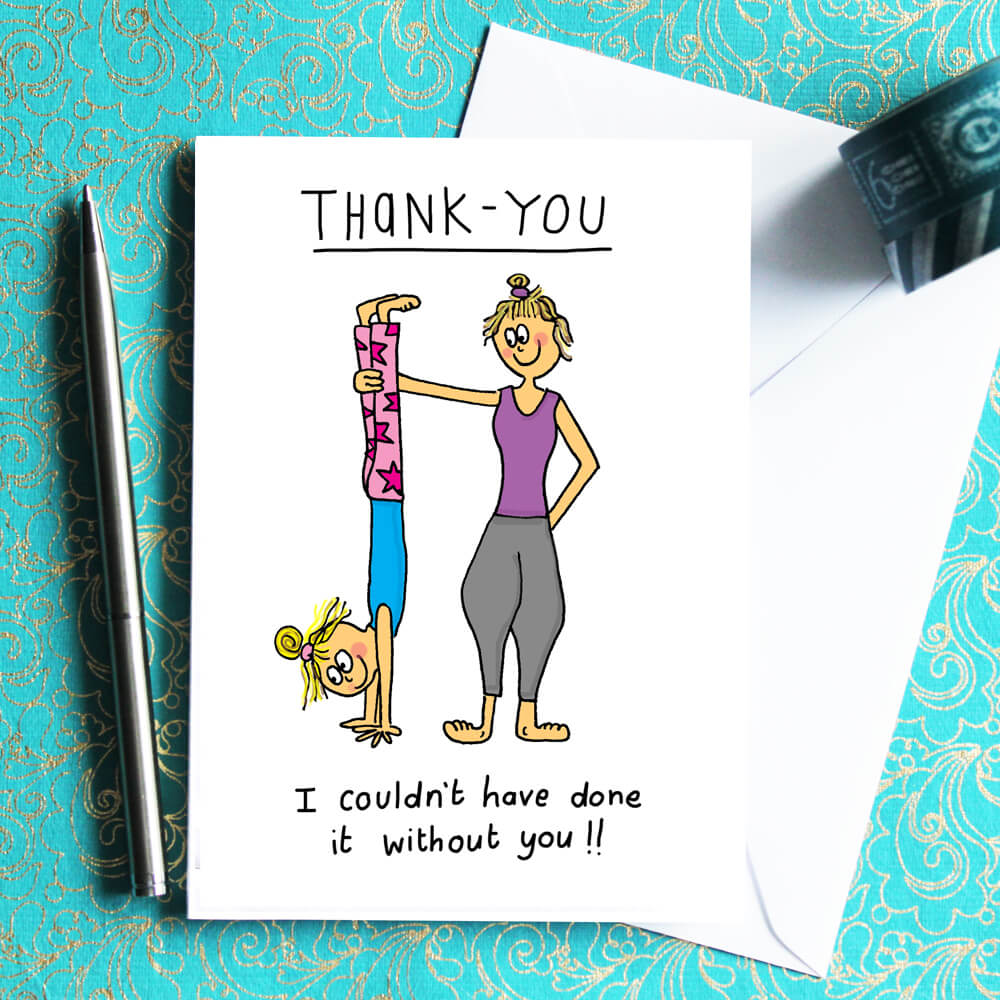 Sun salutations birthday card ch dyer thank you card for yogis bookmarktalkfo Image collections